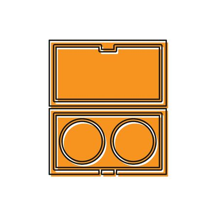 Orange Makeup powder with mirror icon isolated on white background. Vector Illustration