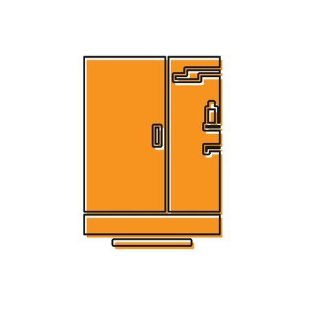 Orange Shower cabin icon isolated on white background. Vector Illustration