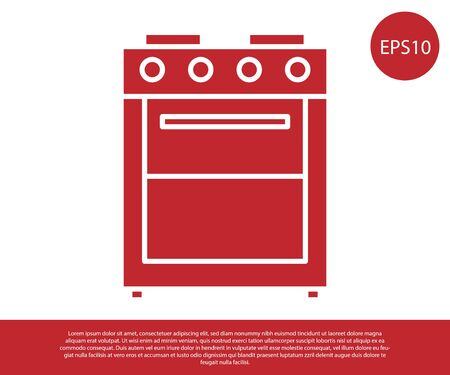 Red Oven icon isolated on white background. Stove gas oven sign. Vector Illustration Illustration
