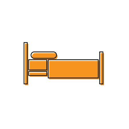 Orange Bed icon isolated on white background. Vector Illustration
