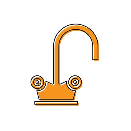 Orange Water tap icon isolated on white background. Vector Illustration Ilustrace
