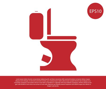 Red Toilet bowl icon isolated on white background. Vector Illustration