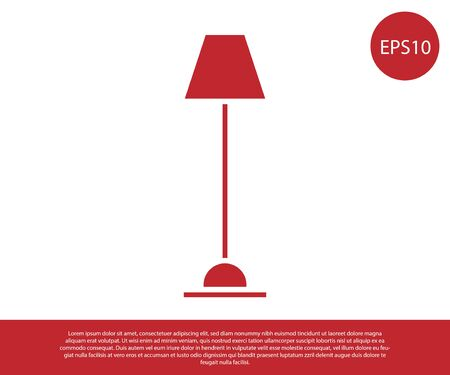 Red Floor lamp icon isolated on white background. Vector Illustration