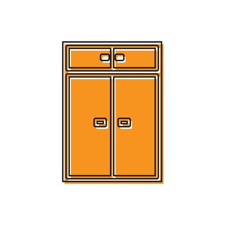 Orange Wardrobe icon isolated on white background. Vector Illustration