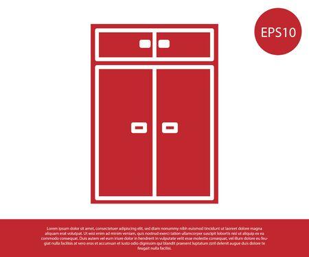 Red Wardrobe icon isolated on white background. Vector Illustration Ilustração