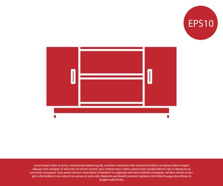 Red TV table stand icon isolated on white background. Vector Illustration