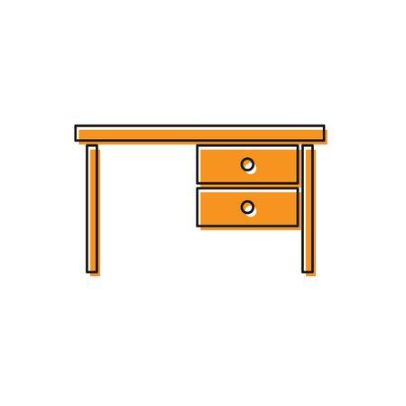 Orange Office desk icon isolated on white background. Vector Illustration Foto de archivo - 138237097