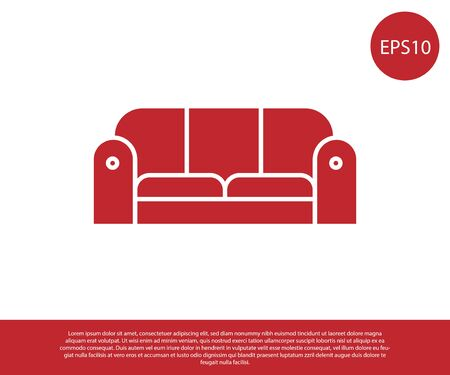 Red Sofa icon isolated on white background. Vector Illustration