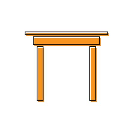 Orange Wooden table icon isolated on white background. Vector Illustration Foto de archivo - 138234120