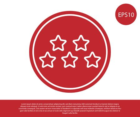 Red Five stars customer product rating review icon isolated on white background. Favorite, best rating, award symbol. Vector Illustration Foto de archivo - 138233698