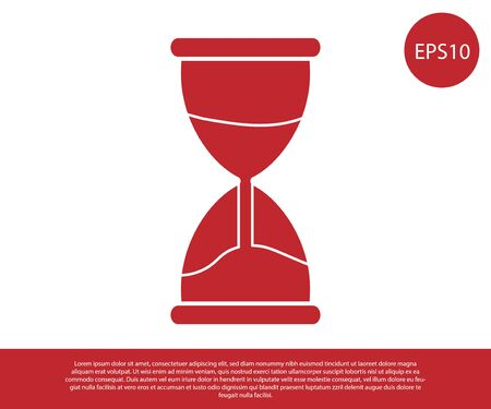 Red Old hourglass with flowing sand icon isolated on white background. Sand clock sign. Business and time management concept. Vector Illustration Ilustração Vetorial