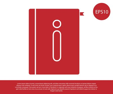 Red User manual icon isolated on white background. User guide book. Instruction sign. Read before use. Vector Illustration Banque d'images - 138237134