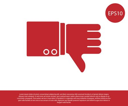 Red Dislike icon isolated on white background. Vector Illustration Illustration