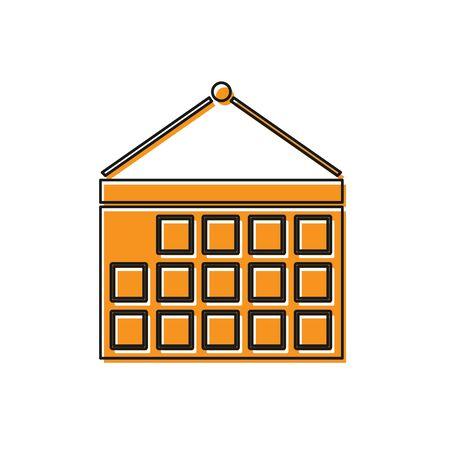 Orange Calendar icon isolated on white background. Event reminder symbol. Vector Illustration