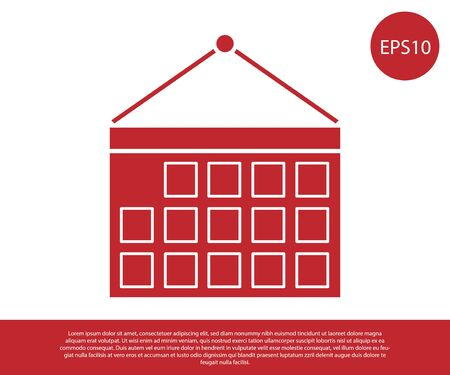 Red Calendar icon isolated on white background. Event reminder symbol. Vector Illustration