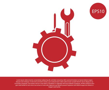 Red Wrench and screwdriver in gear icon isolated on white background. Adjusting, service, setting, maintenance, repair, fixing. Vector Illustration