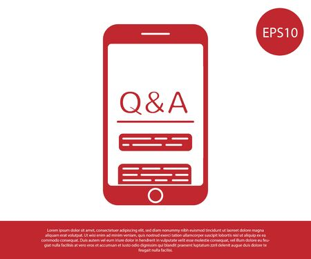 Red Mobile phone with Question and Exclamation icon isolated on white background. Frequently asked questions. Vector Illustration