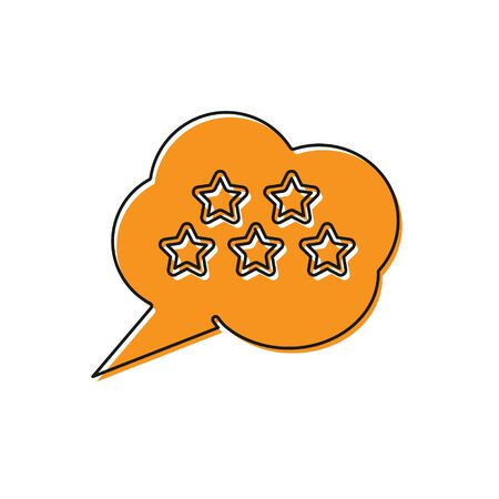 Orange Five stars customer product rating review icon isolated on white background. Favorite, best rating, award symbol. Vector Illustration