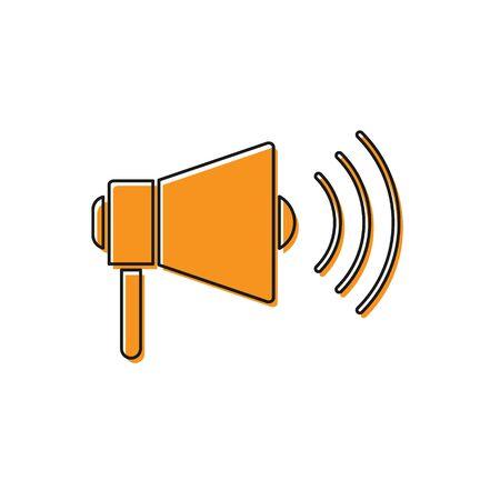 Orange Megaphone icon isolated on white background. Loud speach alert concept. Bullhorn for Mouthpiece scream promotion. Vector Illustration Ilustrace