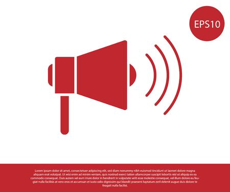 Red Megaphone icon isolated on white background. Loud speach alert concept. Bullhorn for Mouthpiece scream promotion. Vector Illustration