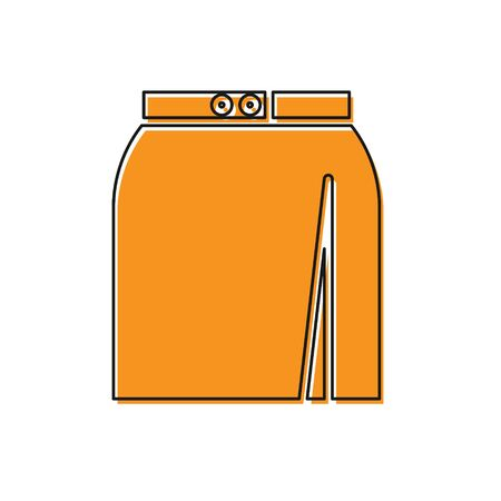 Orange Skirt icon isolated on white background. Vector Illustration