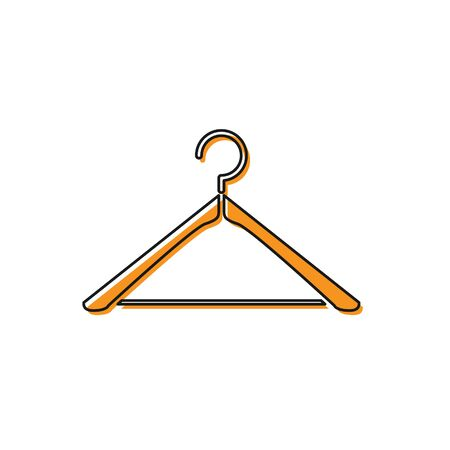 Orange Hanger wardrobe icon isolated on white background. Cloakroom icon. Clothes service symbol. Laundry hanger sign. Vector Illustration