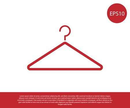 Red Hanger wardrobe icon isolated on white background. Cloakroom icon. Clothes service symbol. Laundry hanger sign. Vector Illustration