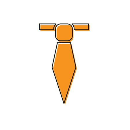 Orange Tie icon isolated on white background. Necktie and neckcloth symbol. Vector Illustration Vectores