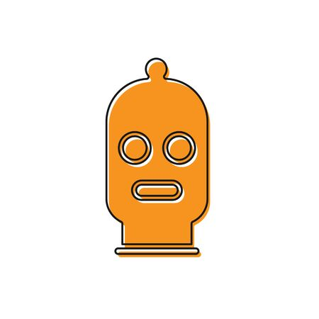 Orange Balaclava icon isolated on white background. A piece of clothing for winter sports or a mask for a criminal or a thief. Vector Illustration Ilustracja