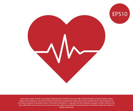 Red Heart rate icon isolated on white background. Heartbeat sign. Heart pulse icon. Cardiogram icon. Vector Illustration