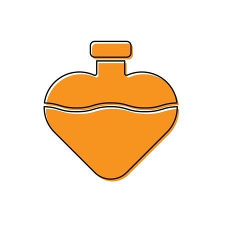 Orange Bottle with love potion icon isolated on white background. Valentines day symbol. Vector Illustration