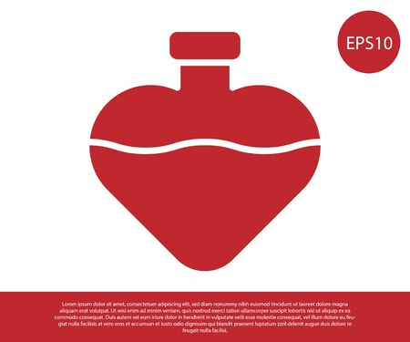 Red Bottle with love potion icon isolated on white background. Valentines day symbol. Vector Illustration 일러스트