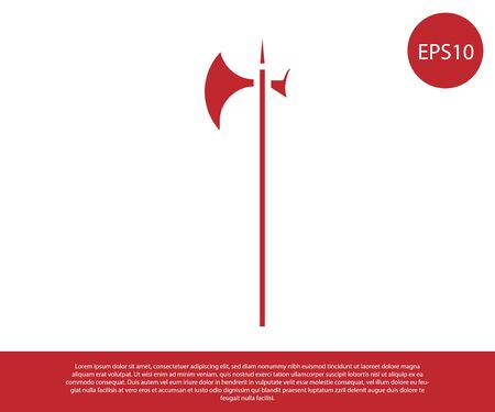 Red Medieval halberd icon isolated on white background. Medieval weapon. Vector Illustration Ilustracja