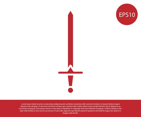 Red Medieval sword icon isolated on white background. Medieval weapon. Vector Illustration Ilustracja