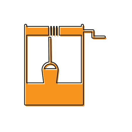 Orange Well with a bucket and drinking water icon isolated on white background. Vector Illustration Stock Illustratie