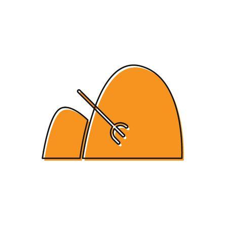 Orange Bale of hay and rake icon isolated on white background. Vector Illustration