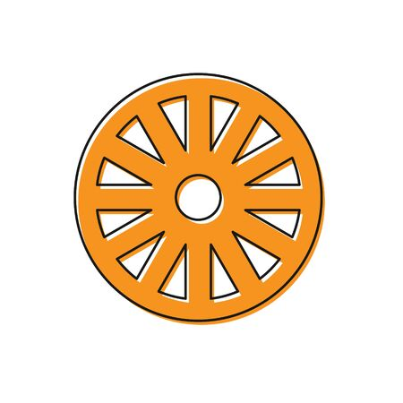Orange Old wooden wheel icon isolated on white background. Vector Illustration