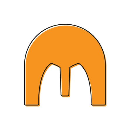Orange Medieval iron helmet for head protection icon isolated on white background. Vector Illustration