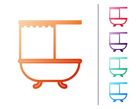 Red line Bathtub with open shower curtain icon isolated on white background. Set color icons. Vector Illustration