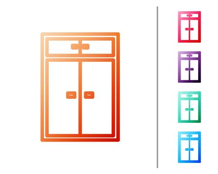 Red line Wardrobe icon isolated on white background. Set color icons. Vector Illustration