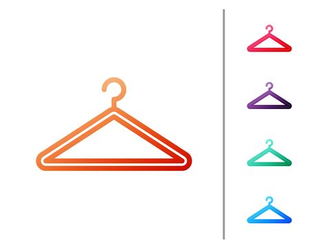 Red line Hanger wardrobe icon isolated on white background. Cloakroom icon. Clothes service symbol. Laundry hanger sign. Set color icons. Vector Illustration
