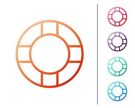 Red line Lifebuoy icon isolated on white background. Lifebelt symbol. Set color icons. Vector Illustration