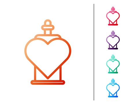 Red line Bottle with love potion icon isolated on white background. Valentines day symbol. Set color icons. Vector Illustration