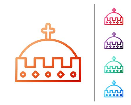 Red line King crown icon isolated on white background. Set color icons. Vector Illustration