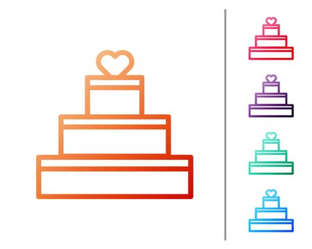 Red line Wedding cake with heart icon isolated on white background. Valentines day symbol. Set color icons. Vector Illustration Illustration
