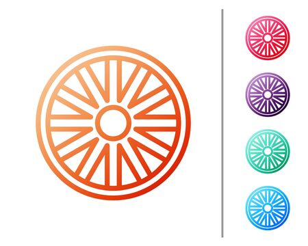 Red line Old wooden wheel icon isolated on white background. Set color icons. Vector Illustration