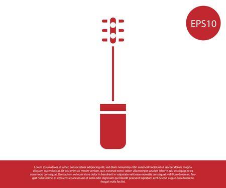 Icono de cepillo de rímel rojo aislado sobre fondo blanco. Ilustración vectorial