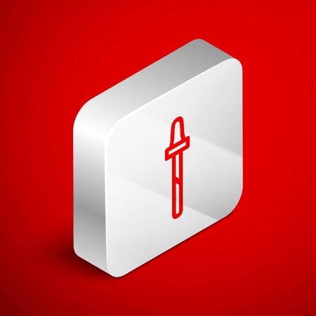 Isometric line Pipette icon isolated on red background. Element of medical, cosmetic, chemistry lab equipment. Silver square button. Vector Illustration