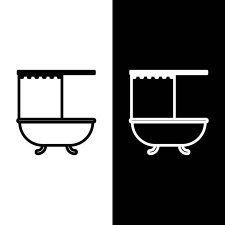 Set line Bathtub with open shower curtain icon isolated on black and white background. Vector Illustration