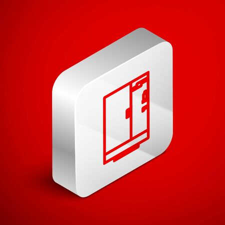Isometric line Shower cabin icon isolated on red background. Silver square button. Vector Illustration Ilustrace